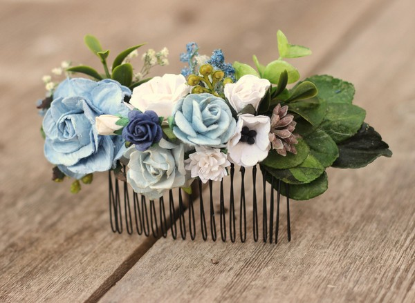 Bridal flower hair comb blue floral hair piece wedding navy comb